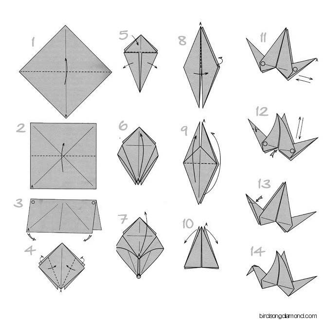 Origami_crane and drone and diamond 2